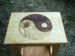 Yin Yang Table by Angelic Yin Yang Night Stand Wood Altar Table Custom Crafted Hand Made