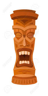 hawaiian tiki god statue carved polynesian wood vector