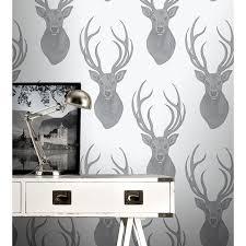 rasch wallpaper rasch stags head wallpaper black silver decorating b m