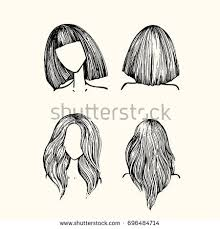 long hair in front shoulder length in back set hairstyles front view back view stock vector 696484714