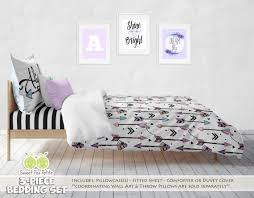 Kid Bed Set Custom Tribal Arrows Bedding Personalized Black White