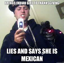 brings indian to thanksgiving lies and says she is mexican