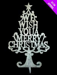 we wish you merry christmas silver glitter 3d tree window table