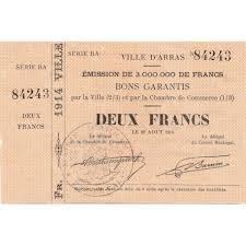 chambre de commerce arras billet des chambres de commerce arras 2 francs