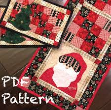 Christmas Rug Santa Quilt Pattern Christmas Table Runner Pattern Mug Rug