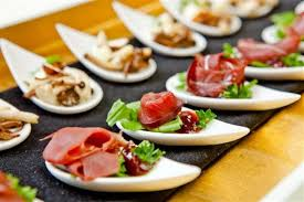 food canapes canape small dish on the table of european foods