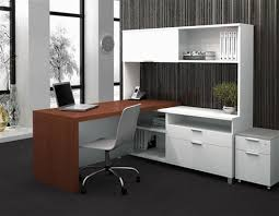 modern two tone l shaped desk with integrated hutch u0026 credenza