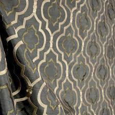 Silk Drapery Fabric By The Yard Agnes Fog Grey Trellis Embroidered Polyester Faux Silk Drapery
