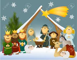 cartoon nativity scene with holy family royalty free cliparts