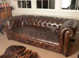 Leather Chesterfield Sofa For Sale by French Mid Century Chesterfield Sofa In Dark Brown For Sale At 1stdibs