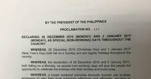 december 26 2016 and january 2 2017 are special non working
