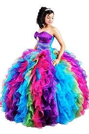pictures of quinceanera dresses diandiai quinceanera dresses rainbow ruffles gown
