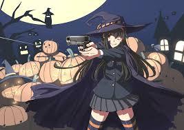 halloween long background original black hair brown eyes gun halloween hat long hair moon