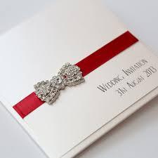 Pocket Invitation Cards Art Deco Bow Pocket Invitation In Ivory U0026 Red Vintage Wedding