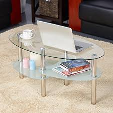 Glass Table For Living Room Yaheetech 3 Tier Modern Living Room Oval Glass Coffee