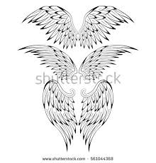angel wings vector lettering drawing stock vector 554611411