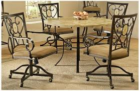 Kitchen Table With Caster Chairs Amazon Com Brookside 5 Pc Round Dining Set W Oval Caster Chair