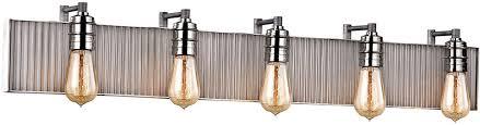 nickel bathroom wall light fixtures elk 15924 5 corrugated steel contemporary weathered zinc polished