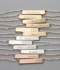 Gold Name Plated Necklace Gold Or Silver Bar Necklace Personalized Name Necklace