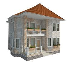 3d model two storey house on the waterfront with the environment