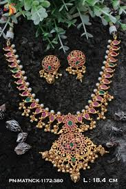gold necklace ruby images One gram gold necklace set in real temlple ruby and emerald dsep22 jpg