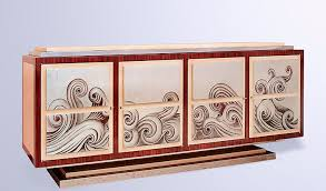 art deco sideboard wooden custom waves fort royal