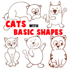 big guide drawing cartoon cats basic shapes kids
