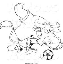 vector cartoon soccer bull coloring outline