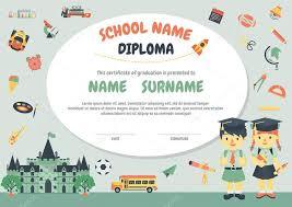 diplomas de primaria descargar diplomas de primaria plantilla de diseño de fondo de preescolar primaria niños diploma