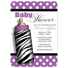 shower invitations zebra print baby bottle purple