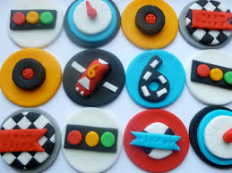 hot wheels cake toppers grand prix go karting fondant cupcake toppers checkered