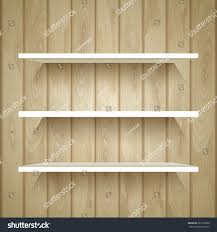 Wood Plank Shelves by Empty Shelves On Wooden Wall Vector Stock Vector 261255908