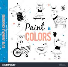 set funny cute animals coloring kids stock vector 436550671