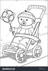 baby stroller little boy dressed sweater stock vector 244824019