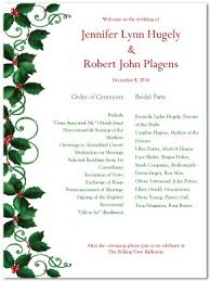 christmas wedding programs printable wedding program template