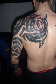 cool tribal tattoo on back shoulder for men tattoos for men