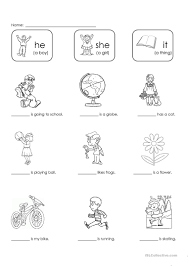 Personal And Possessive Pronouns Worksheet He She Or It Worksheet Free Esl Printable Worksheets Made By