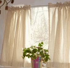 White Cafe Curtains Beige And White Cafe Curtains Gingham Check