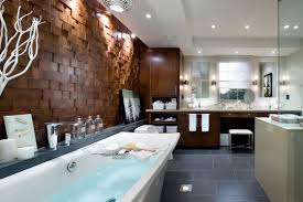 amazing bathroom interior with modern tub and wooden cladding
