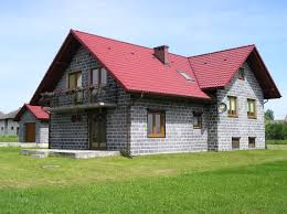 modern grey wall contrete block homes that can be decor with red