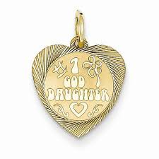 Goddaughter Charm 14k Yellow Gold 1 Goddaughter Heart Disc Charm Products