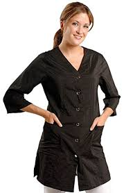 hair fashion smocks amazon com jmt beauty 3 4 sleeve black salon smock xs 0 4