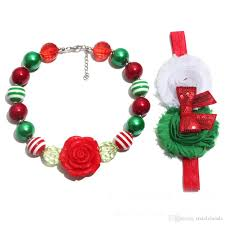 childrens necklace 2018 christmas children s necklace flower headband set chunky bead