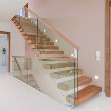 pine or walnut wood tread straight staircase with laminated