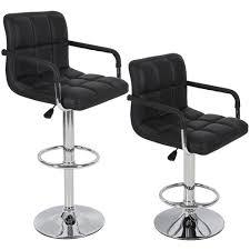 amazon com bar stools leather set of 2 with armrest black