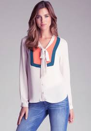 bebe blouse lyst bebe color block tie neck blouse in