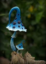 blue white dark purple amanita fairy garden fantasy mushroom set