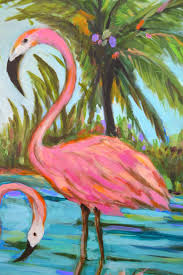 my creative life pink flamingo painting by karen fields 30 x 30