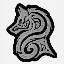 tribal wolf embroidery biker leather vest patch
