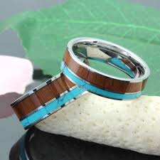 unique matching wedding bands his and hers koa wood and turquoise inlaid tungsten wedding bands unique